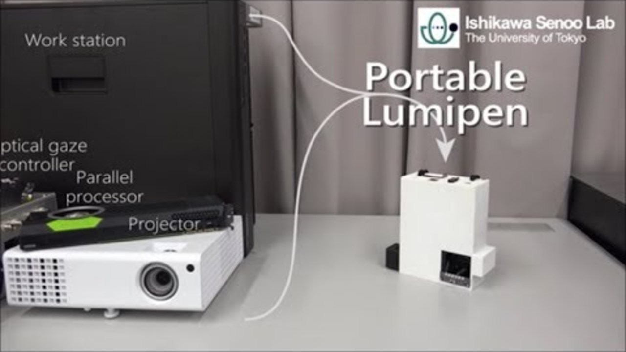 Portable Lumipen: mobile dynamic projection mapping system using a 3D-stacked vision chip