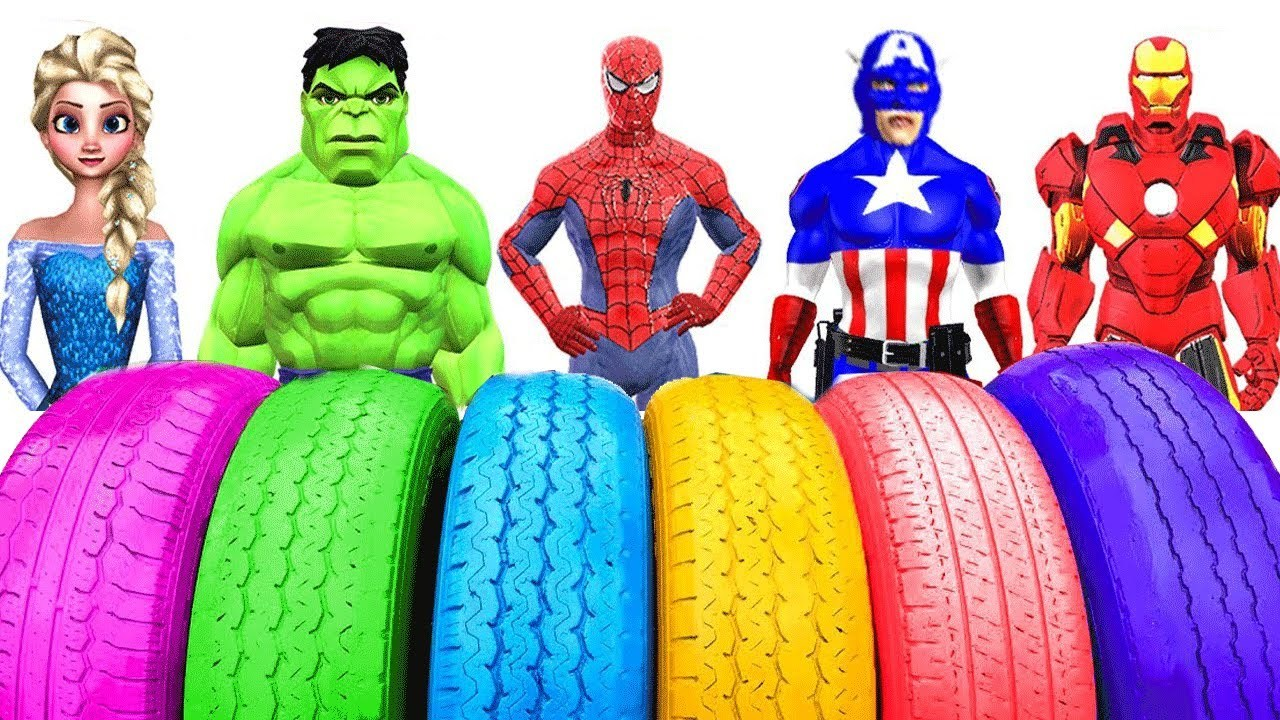 Learn Colors With Colored Tires | Learning Colors Tires Fun Superheroes Cartoons Finger Family Song