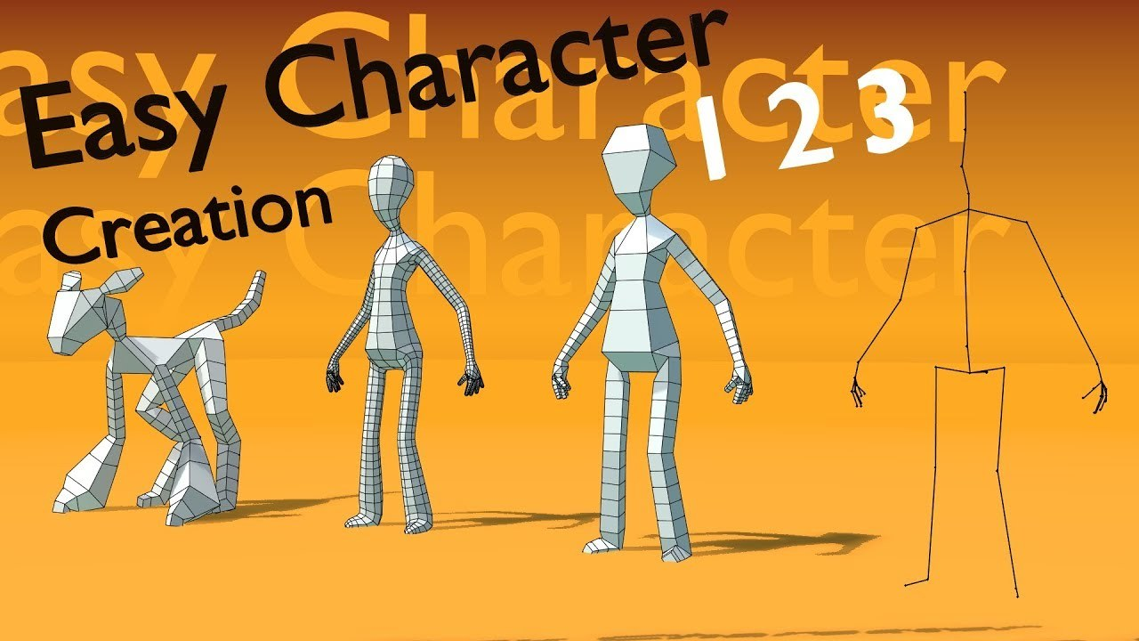 Easy low poly character using skin modifier [blender 3d]