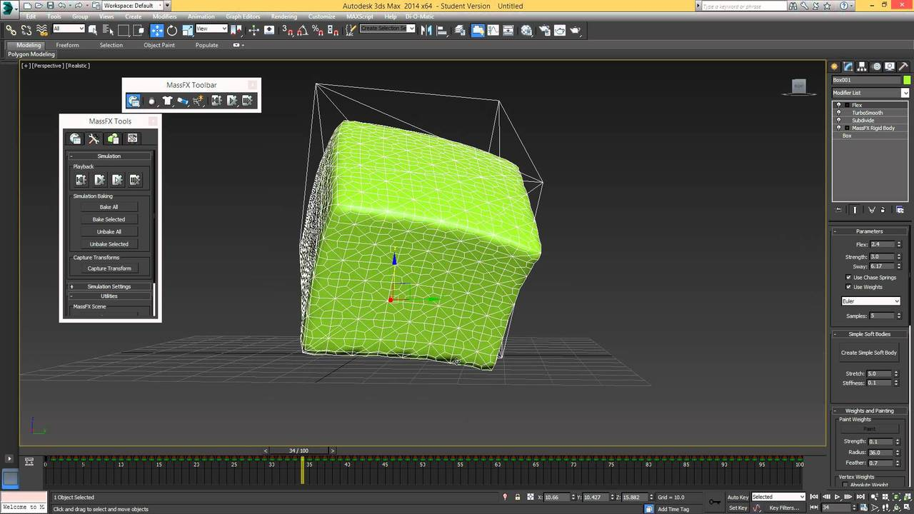 Jelly in 3Ds max tutorial using MassFX and Flex