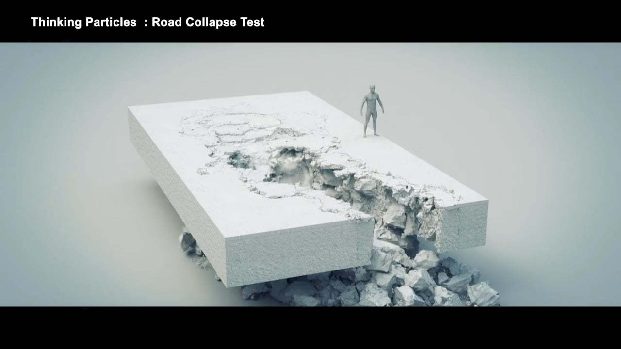 Thinking Particles : Road Collapse Test